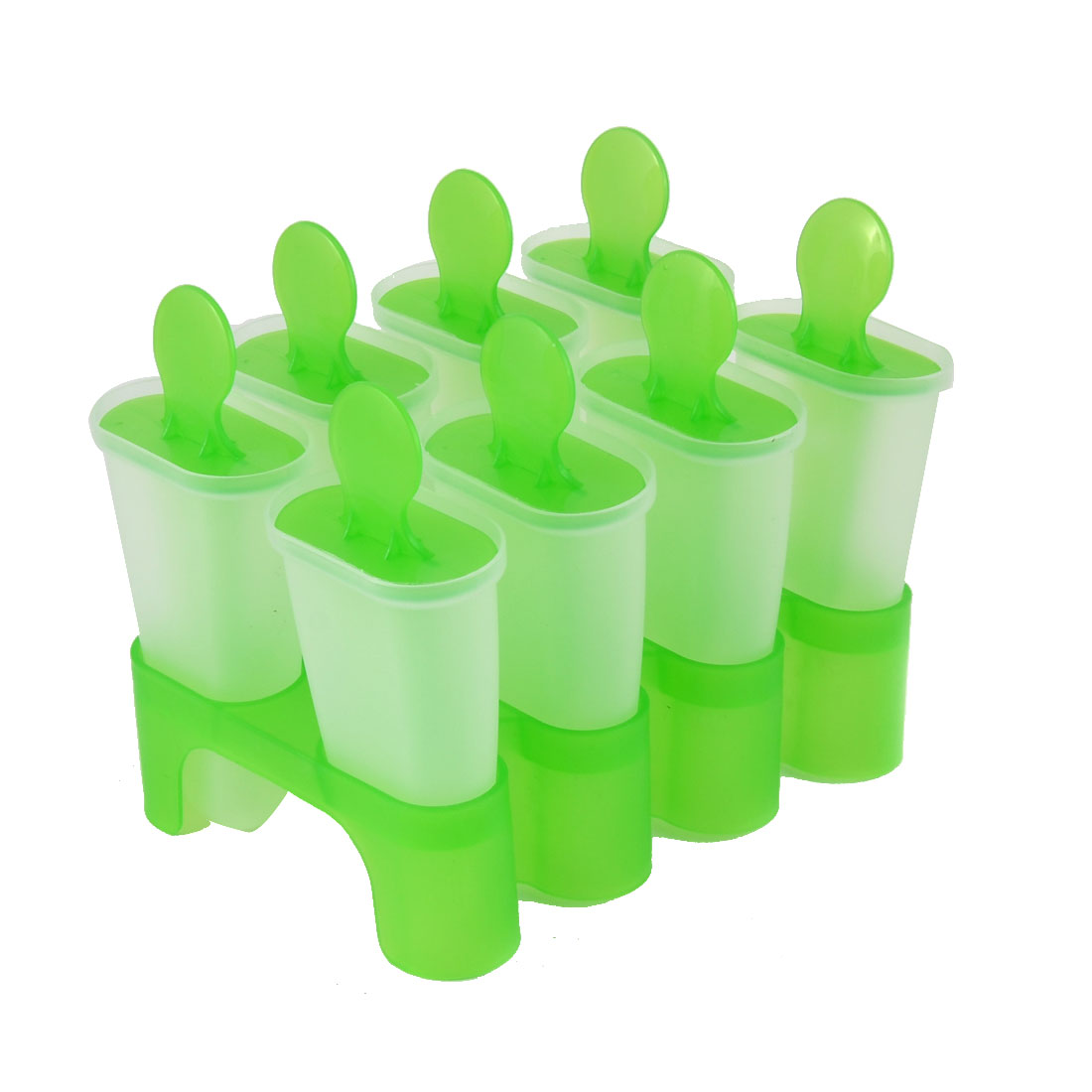 Plastic 8 Compartments Home DIY Ice Cream Popsicle Making Tray Green Clear