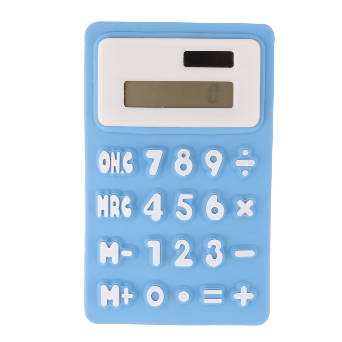 Silicone 8 Digits Display 20 Keys Portable Foldable Calculator Blue White