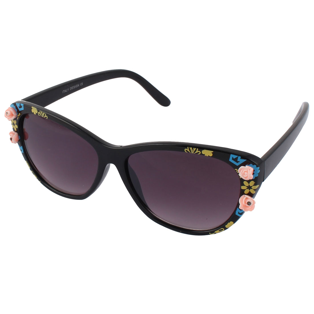 Stylish Women Plastic Full Frame Flowers Decoration Sunglass Black