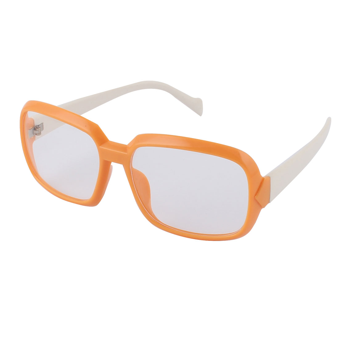 Unisex Plastic Clear Lens Oversize Fll Orange Frame White Arms Sunglass