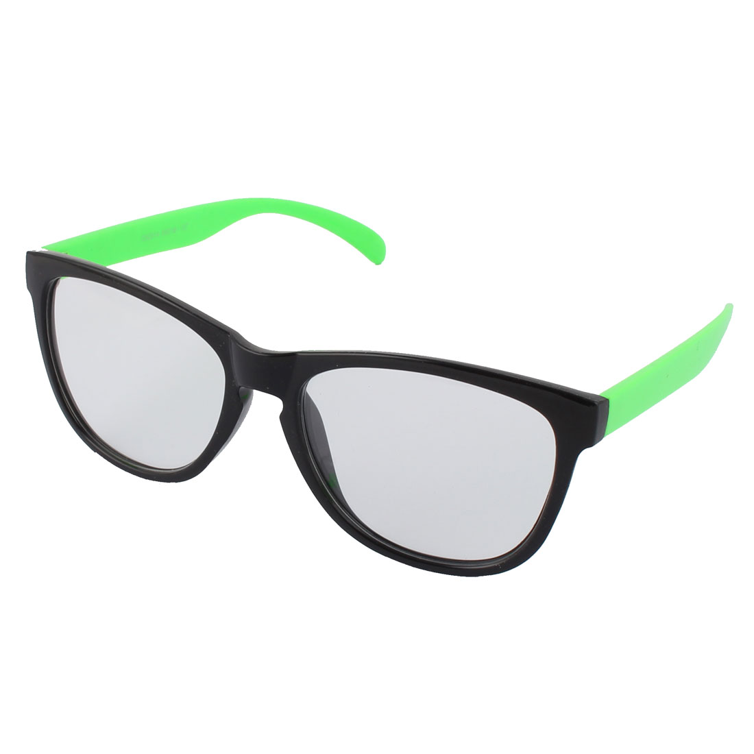 Classic Unisex Plastic Clear Lens Oversize Black Full Frame Green Arms Sunglass