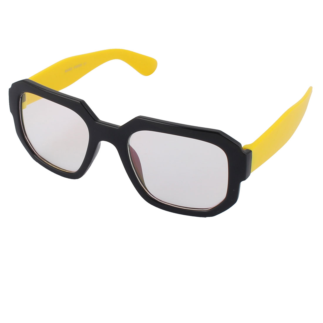 Women Men Plastic Yellow Arms Clear Lens Square Black Full Frame Sunglass