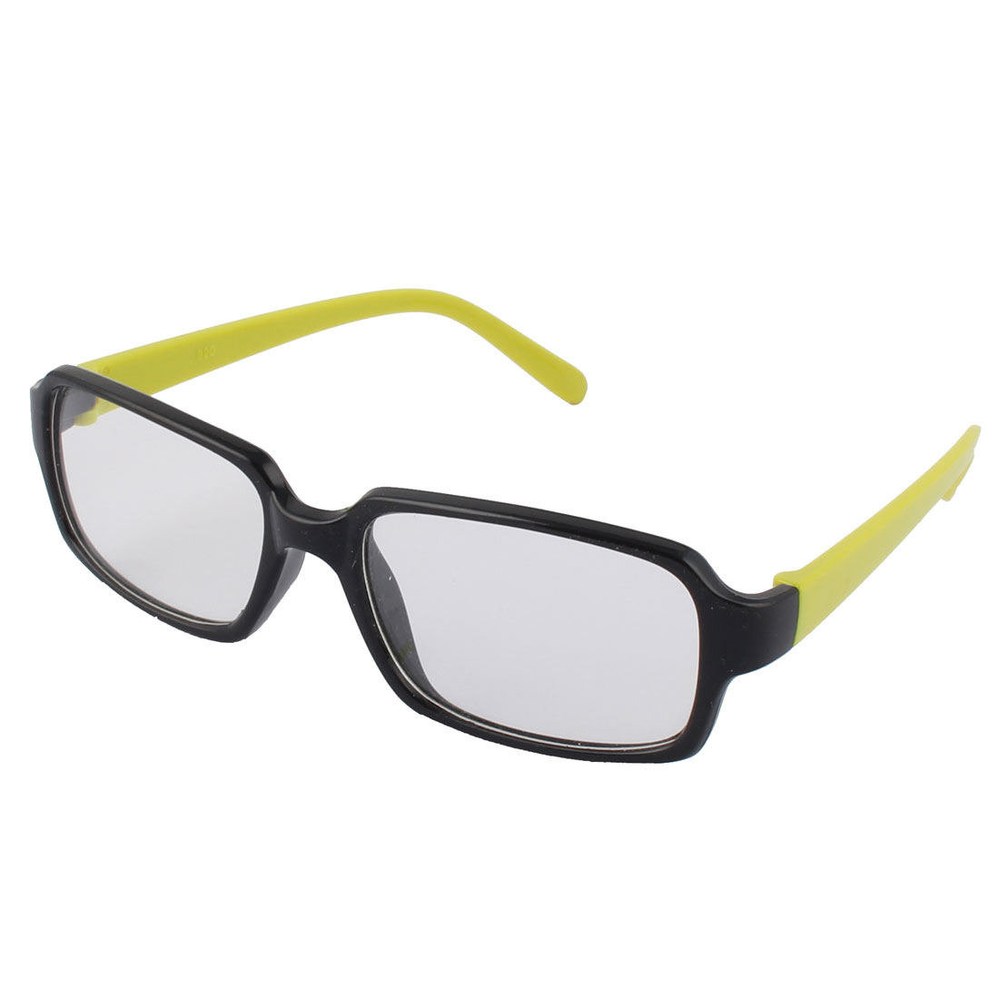 Students Stylish Clear Square Lens Light Green Black Frame Plastic Eye Plain Glass