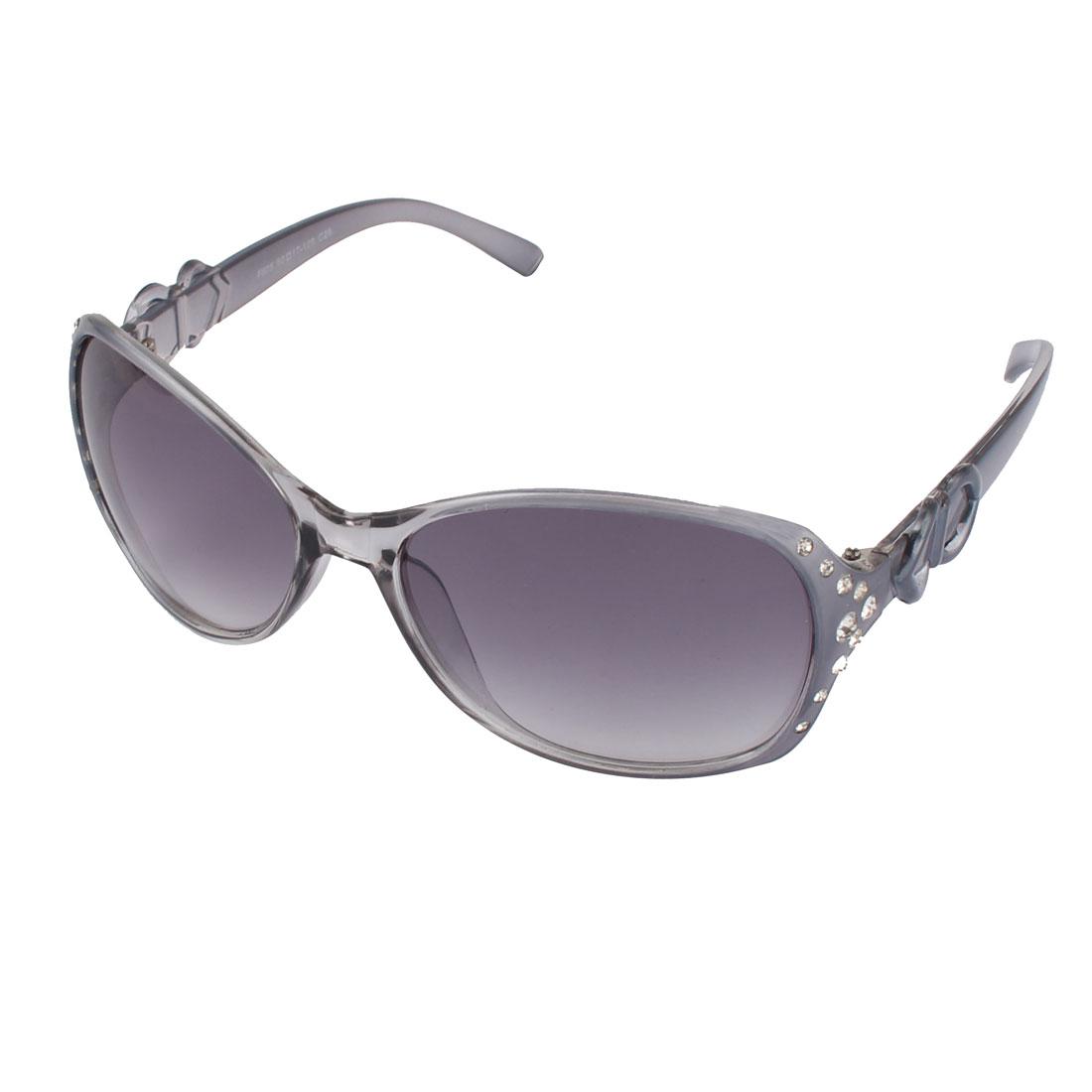 Ladies Sports Full Frame Manmade Rhinestone Lens Plastic Sunglasses Gray