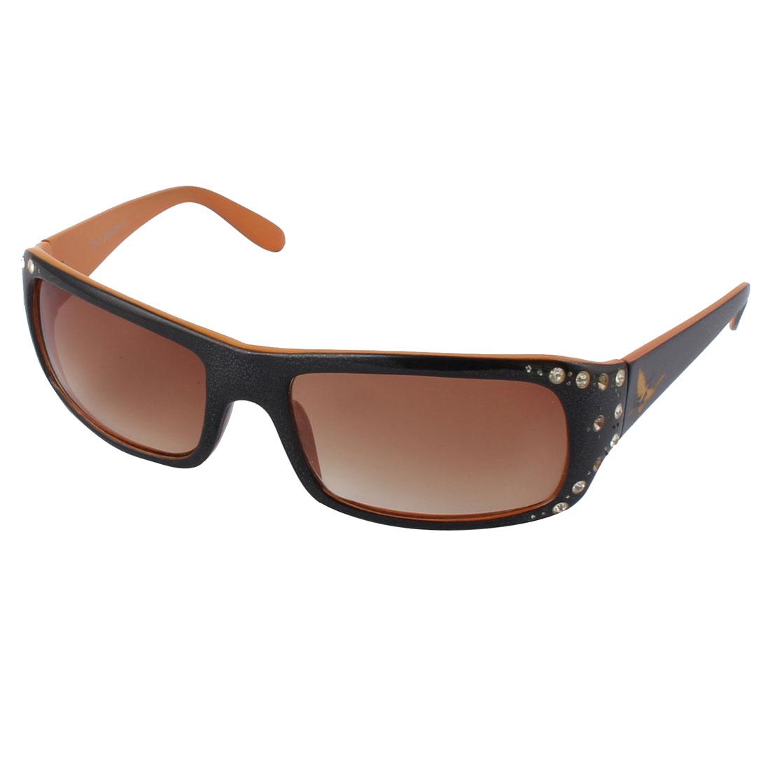 Plastic Tinted Lens Artificial Rhinestone Decor Black Orange Full Frame Sunglass