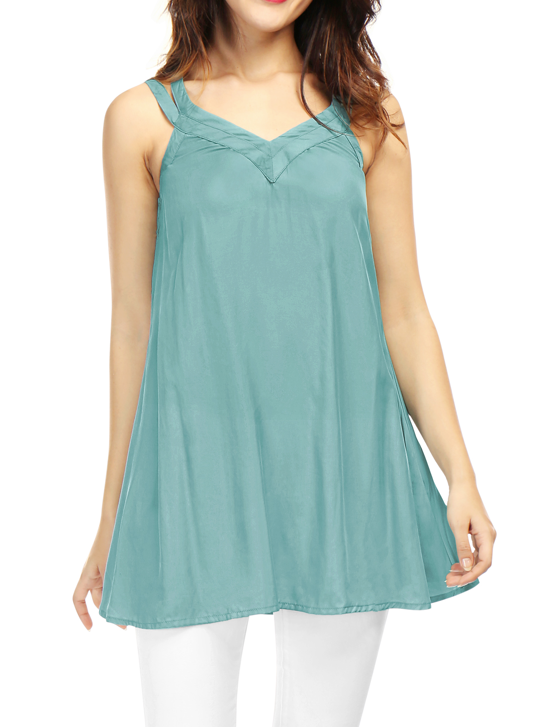 Women Sleeveless V Neckline Strappy Back Swing Tunic Top Green L