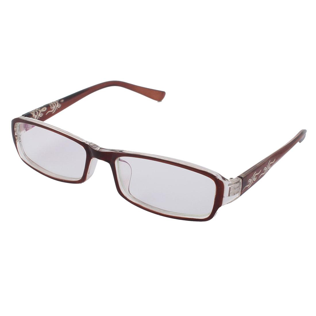Students Transparent Lens Brown Flower Decor Frame Plastic Eyewear Plain Glass