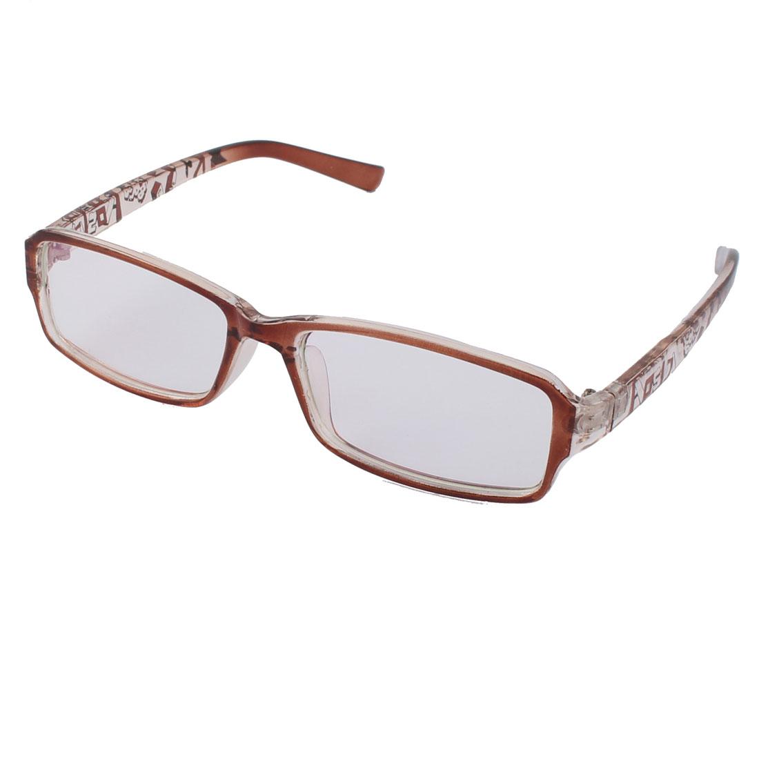 Clear Lens Light Brown Letter Pattern Frame Plastic Eyewear Plain Glass