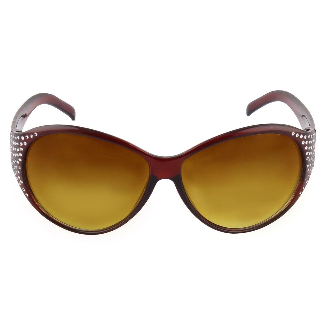 Lady Glamour Plastic Full Frame Rhinestone Sunglass Brown