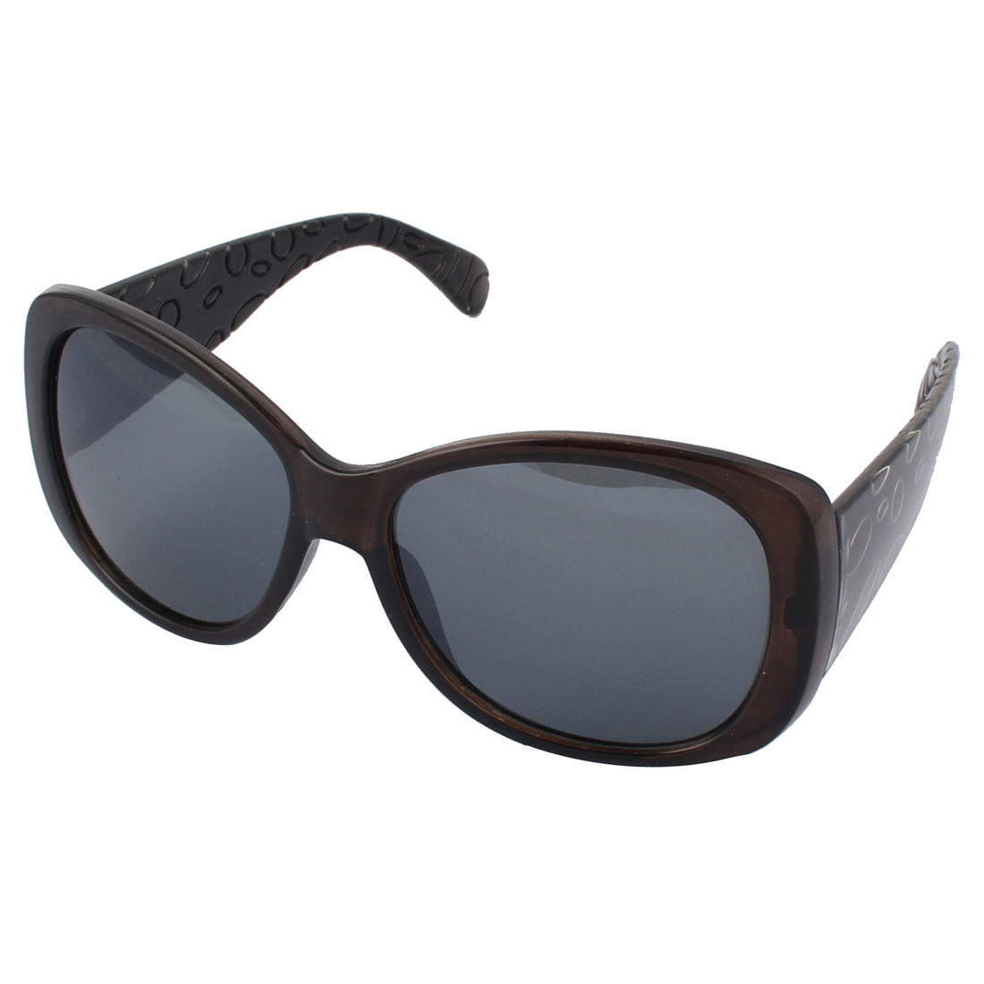 Women Plastic Mirrored Fashion Crystal Decor Full Frame Sunglass Black