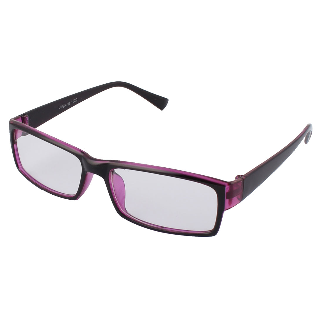 Stylish Clear Lens Light Purple Black Frame Plastic Eyewear Plain Glass