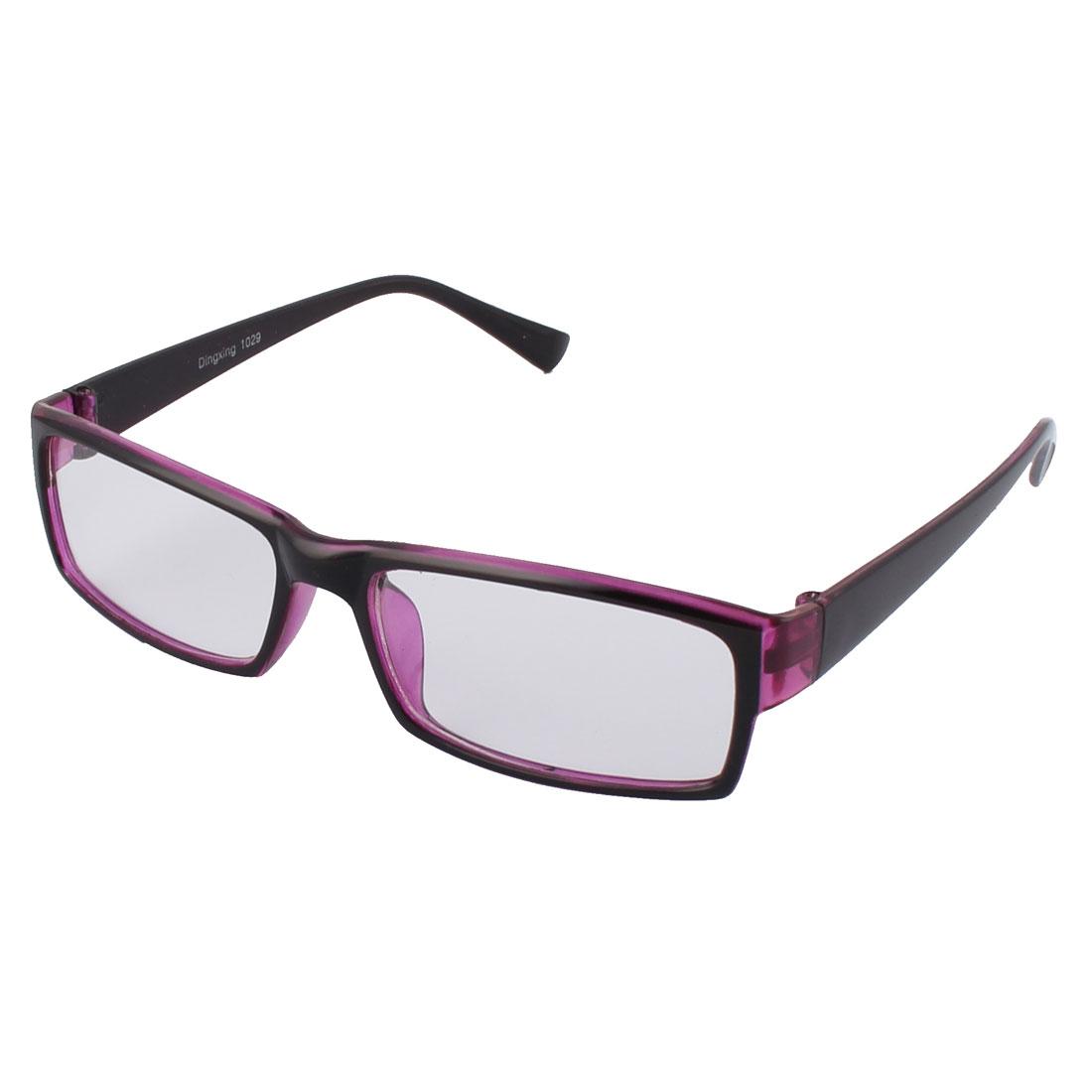 Stylish Clear Lens Light Purple Black Frame Plastic Eyewear Plain Glass