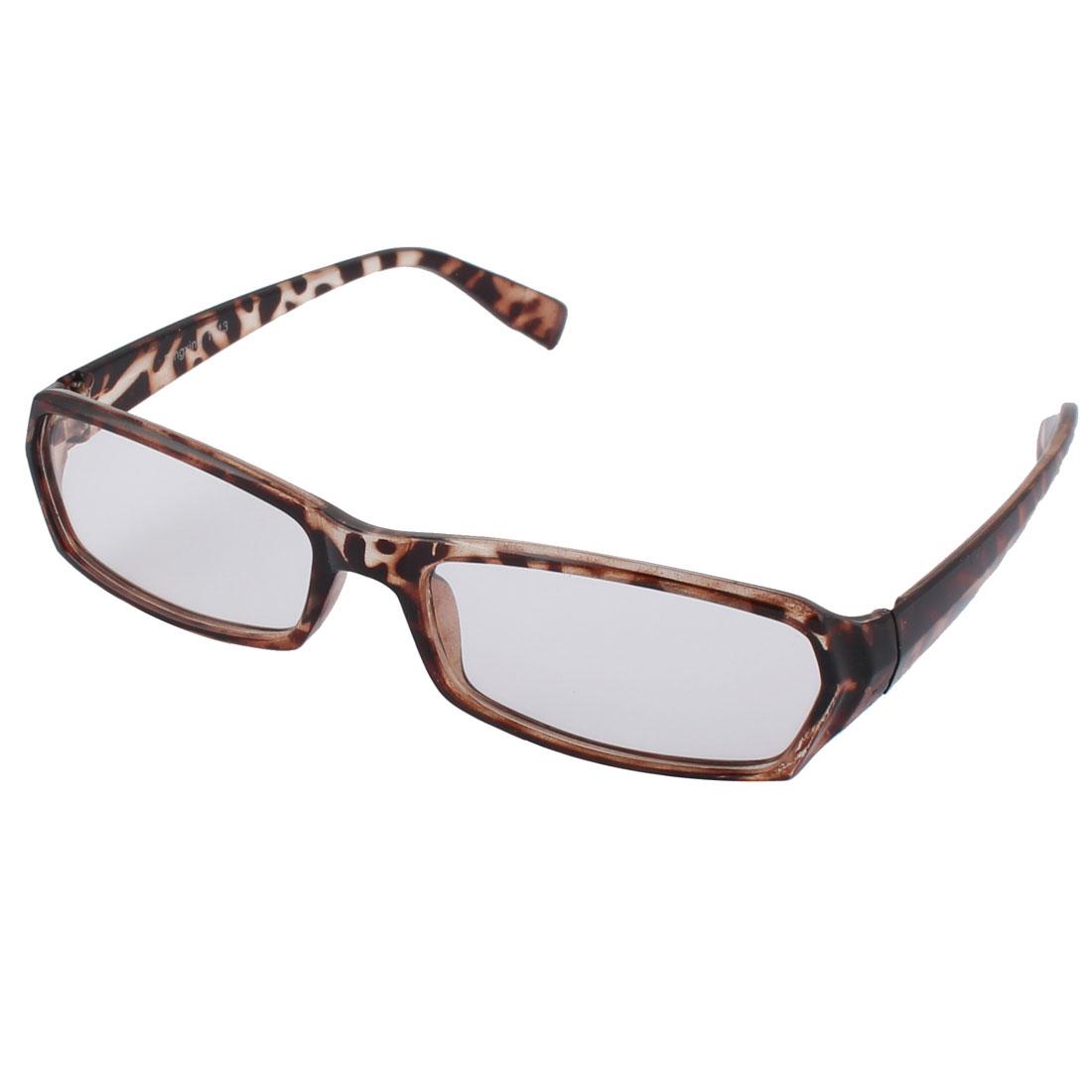 Women Clear Lens Leopard Printed Frame Full Rim Plastic Eyewear Plain Glass