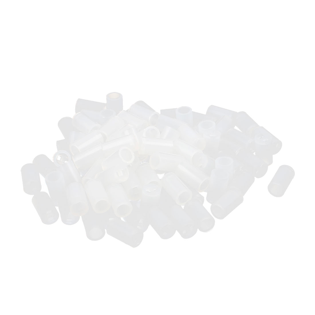 100 Pcs Nylon Cylinder LED Spacer Holder Support 3mm x 7mm Clear