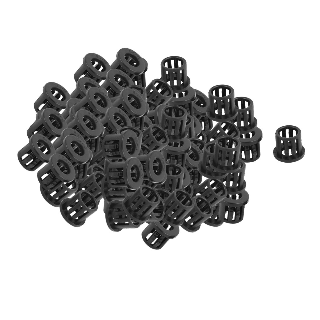100 Pcs 6.5mm x 10mm Round Cable Harness Protective Snap Bushing SK-10 Black