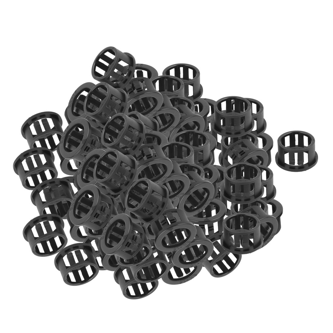 100 Pcs 13mm x 16mm Round Cable Harness Protective Snap Bushing SK-16 Black