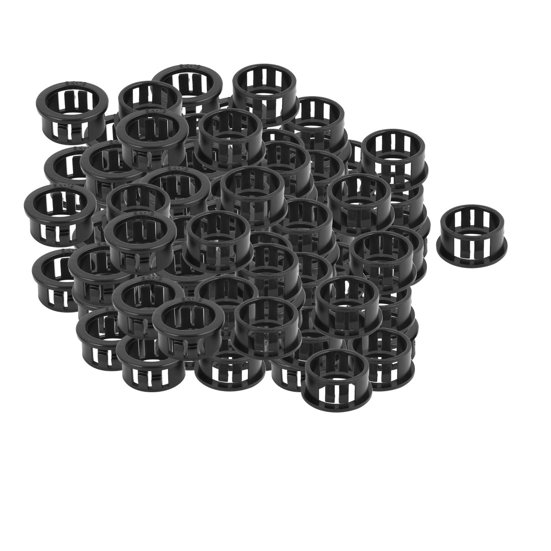 100 Pcs 19mm x 16mm Round Cable Harness Protective Snap Bushing SK-19 Black