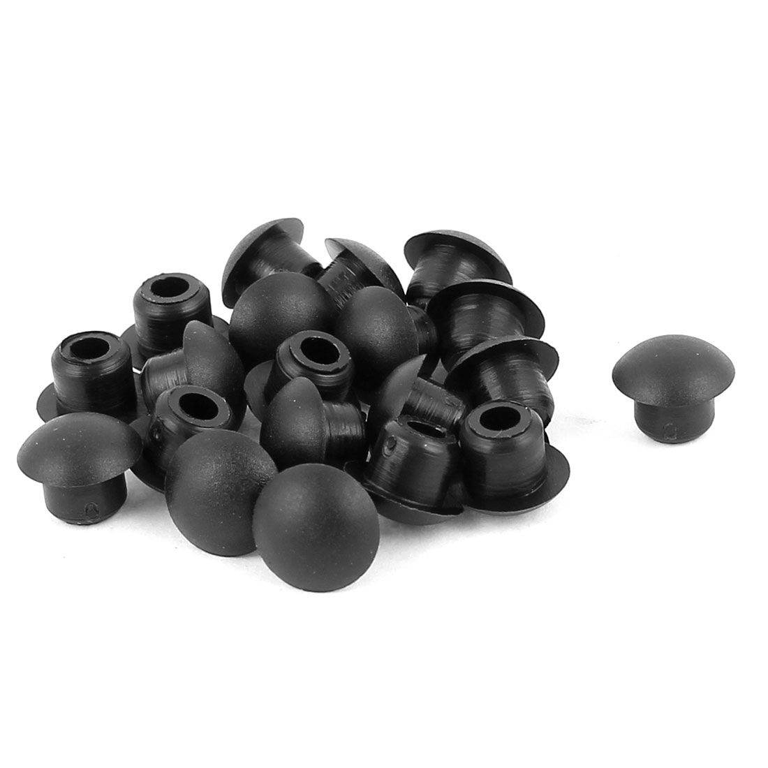 20 Pcs Nylon M6 Diameter Dome Head Cable Hole Caps Cover Insert Black