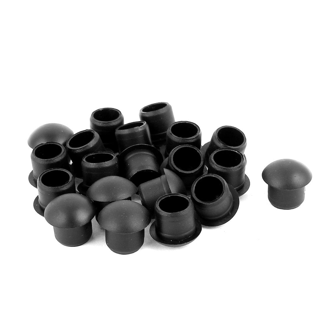 20 Pcs Nylon M12 Diameter Dome Head Cable Hole Caps Cover Insert Black