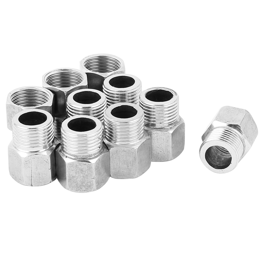1/2BSP Male to 1/2BSP Female Threaded Hex Reducing Bushing Pipe Tube Adapter 10 Pcs