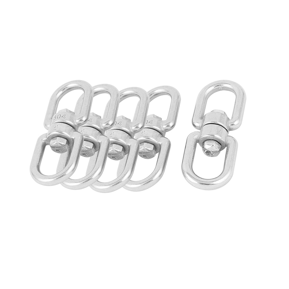 5 Pcs 5mm Thickness 304 Stainless Steel Double D Shape Eye Swivel Hook Shackle