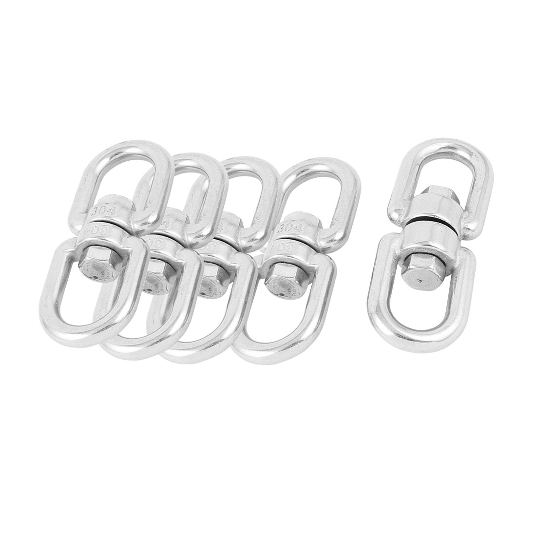5 Pcs 8mm Thickness 304 Stainless Steel Double D Shape Eye Swivel Hook Shackle