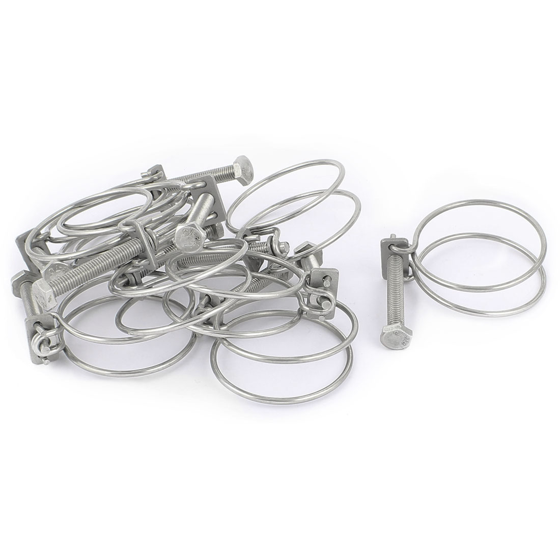10 Pcs 57mm Diameter Double Wire Grip Cable Tight Pond Pump Hose Pipe Clip Bolt Clamp