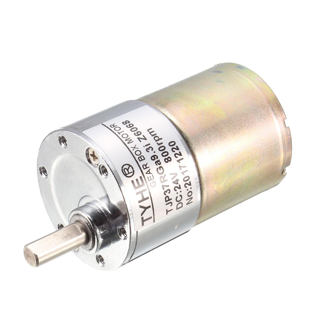 DC 24V 800RPM 6mm Shaft Dia Direct Current Gear Reduction Motor TJP37RGa9.3i-Z6068