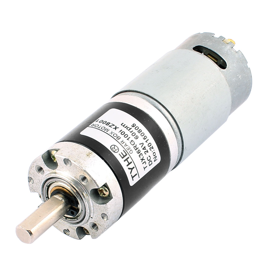 DC 24V 60RPM High Torque 8mm Shaft Dia Cylindrical DC Geared Motor TJX36RG100i-ZX8001