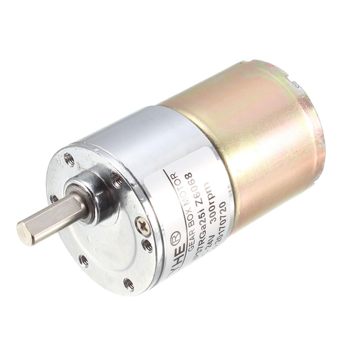TJP37RGa25i-Z6068 6mm Dia Eccentric Shaft Gear Reduction DC Motor DC 24V 300RPM