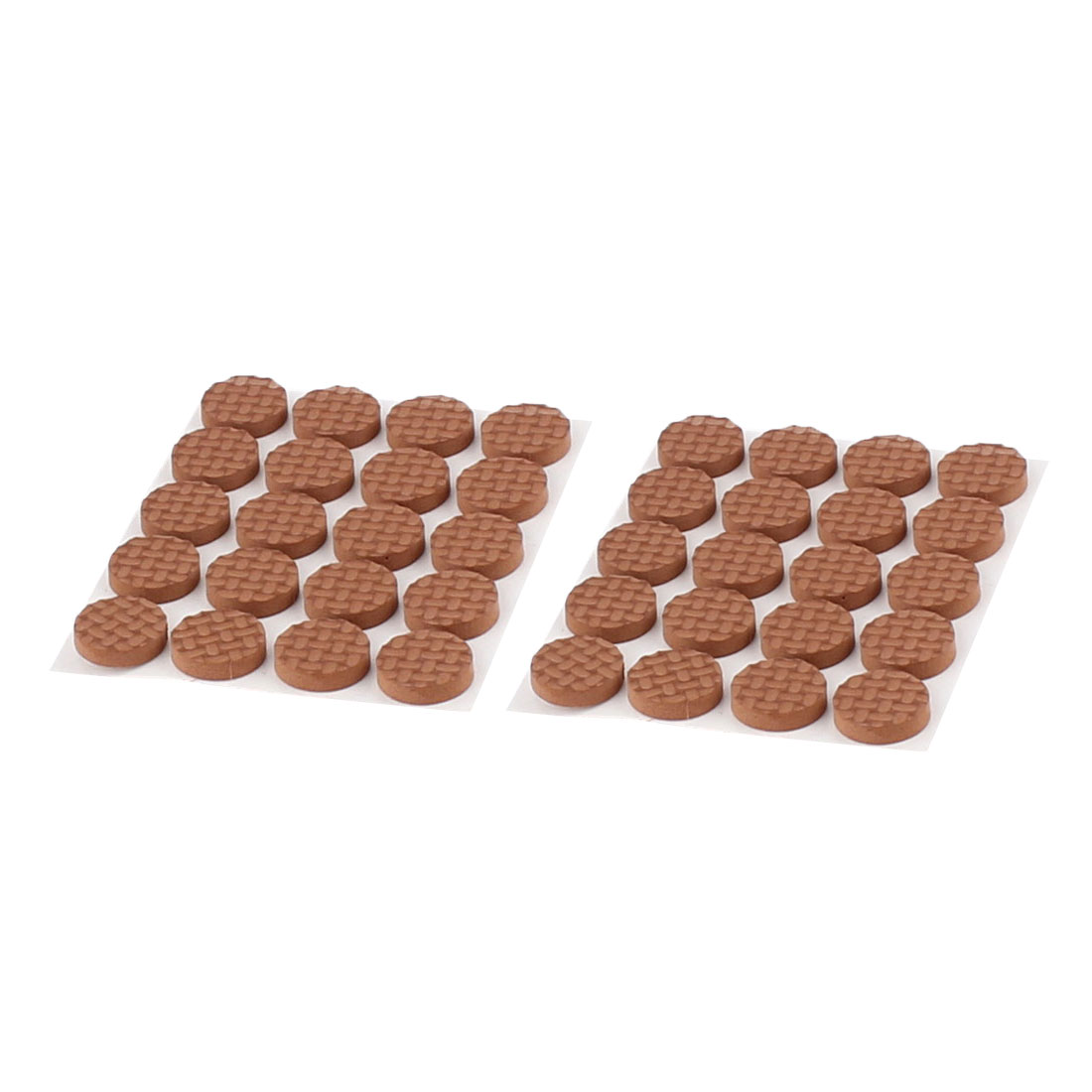 Table Chair EVA Round Anti Scratch Furniture Feet Pads Covers Cushion Brown 15mm Dia 40pcs