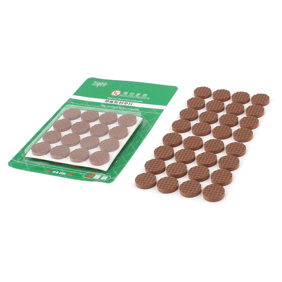 Table Chair EVA Round Anti Scratch Furniture Feet Pads Covers Cushion Brown 18mm Dia 64pcs