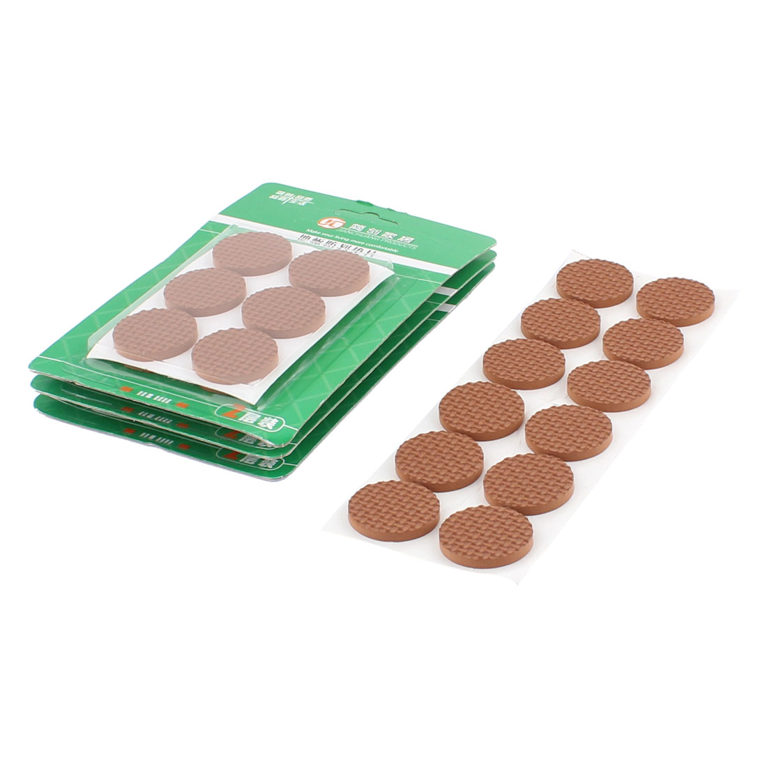 Table Chair EVA Round Anti Scratch Self Adhesive Furniture Feet Pads Covers Cushion Brown 30mm Dia 48pcs