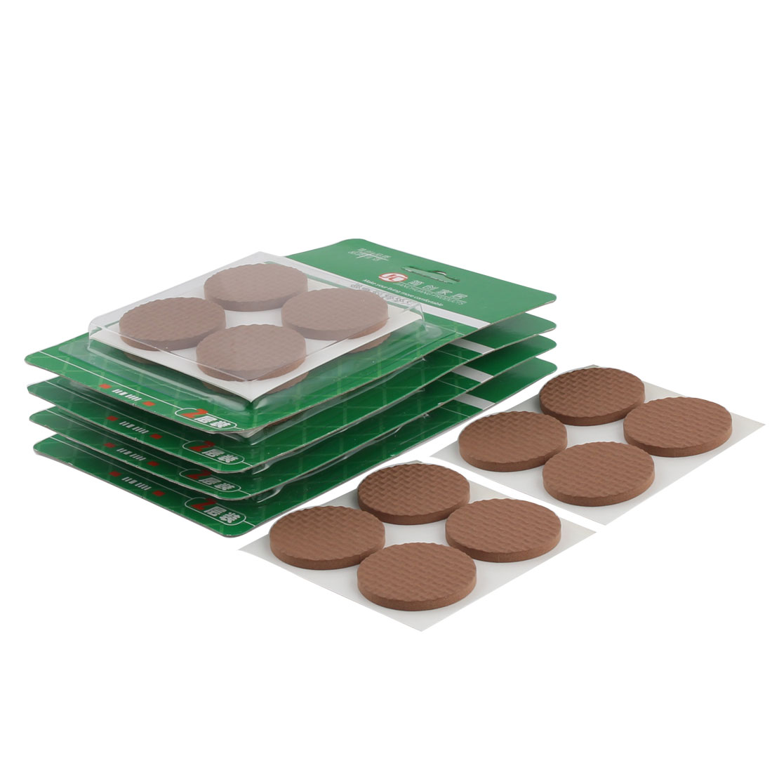 Office Home Round EVA Self Stick Floor Protection Furniture Foot Pads Mats Brown 38mm Dia 40pcs