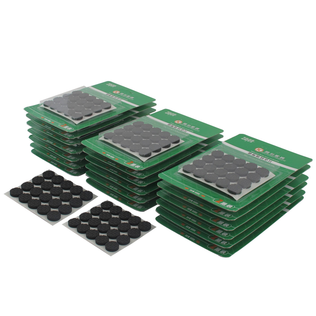 Household Round EVA Self Adhesive Table Cabinet Furniture Felt Pads Mats Black 15mm Diameter 800pcs
