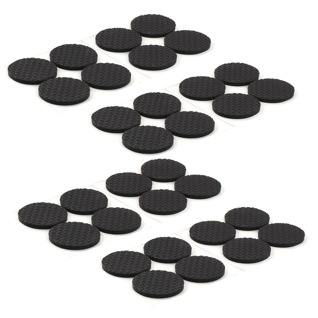 Office Round EVA Anti Slip Self Adhesive Furniture Foot Pads Cushions Black 38mm Dia 32pcs
