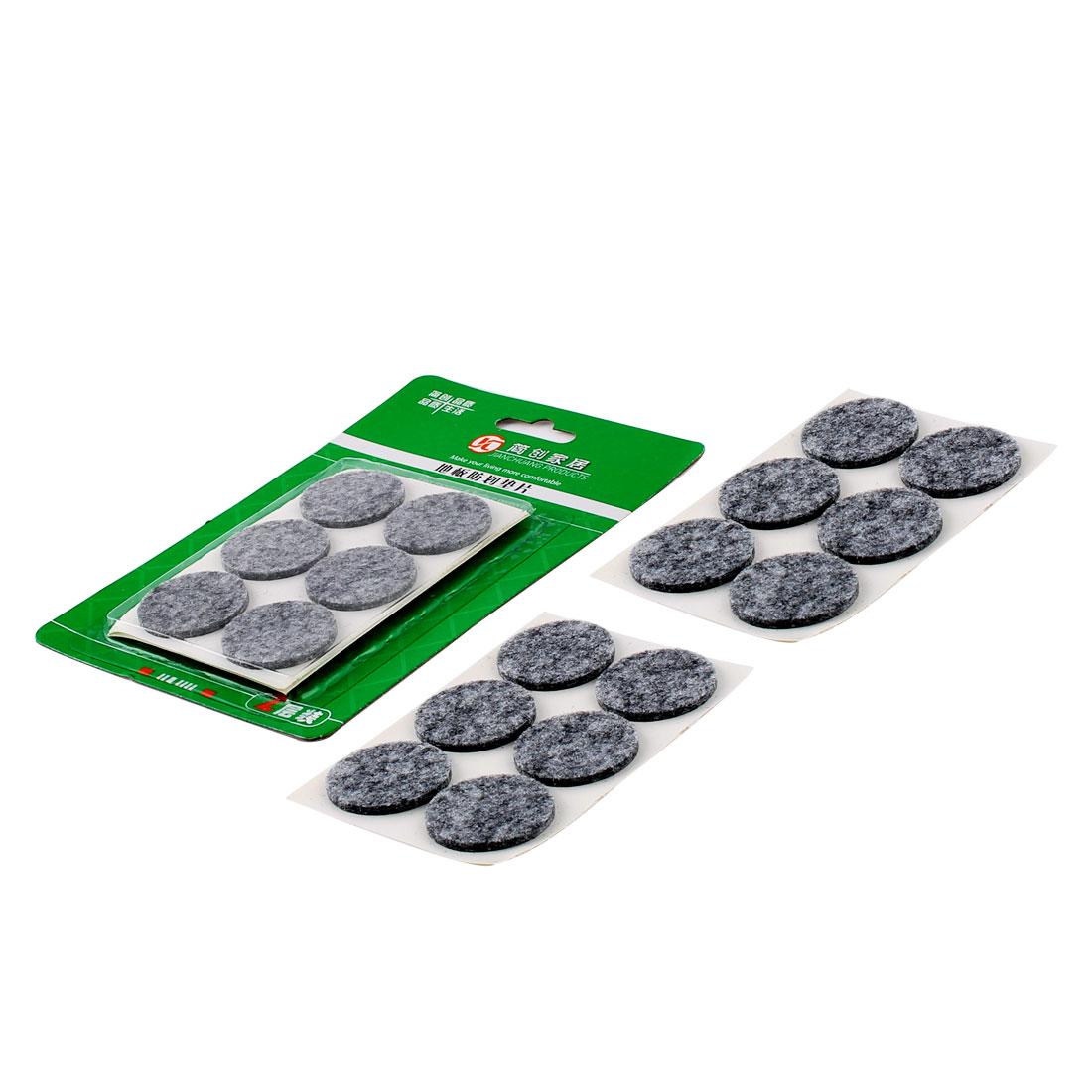 Houseware Protecting Floor Furniture Felt Pads Cushions Mats Gray 30mm Dia 24pcs