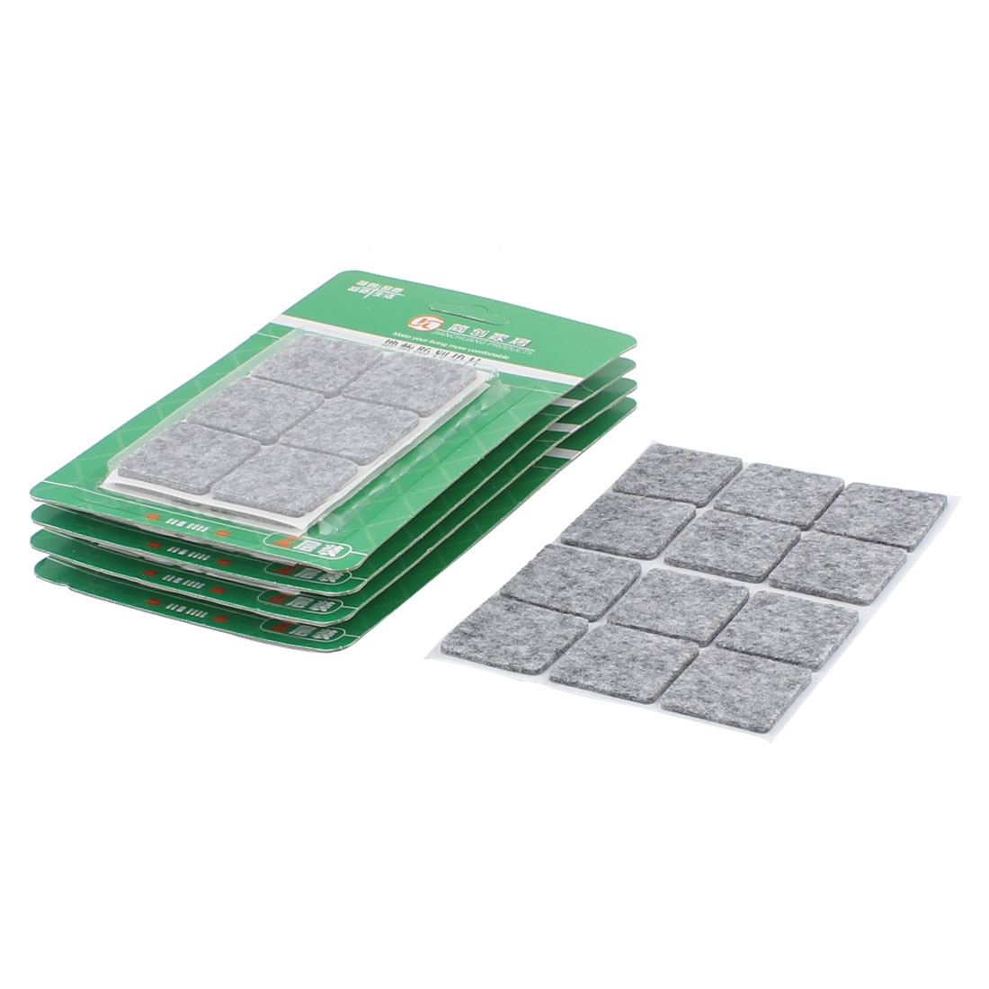 Table Chair Legs Square Anti Slip Furniture Felt Pads Covers Protector Gray 30 x 30mm 60pcs