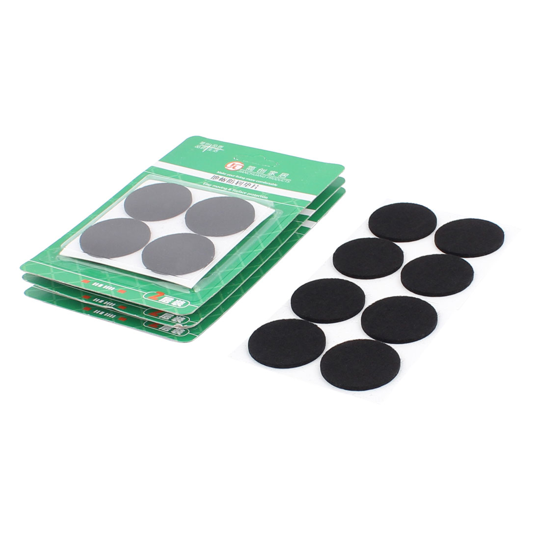 Cabinet Chair Desk Legs Self Stick Surface Protect Furniture Felt Pads Cushions Black 38mm Diameter 32pcs