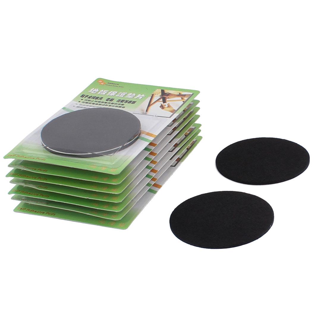 Cabinet Desk Legs Self Adhesive Floor Protection Furniture Felt Pads Mats Black 85mm Diameter 16pcs