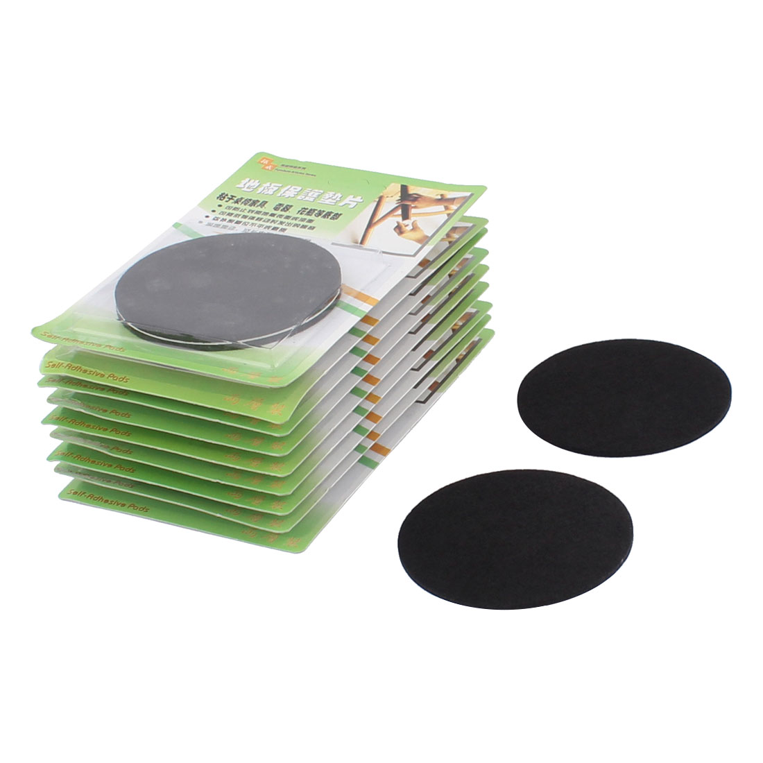 Cabinet Desk Legs Self Adhesive Floor Protection Furniture Felt Pads Mats Black 85mm Diameter 20pcs