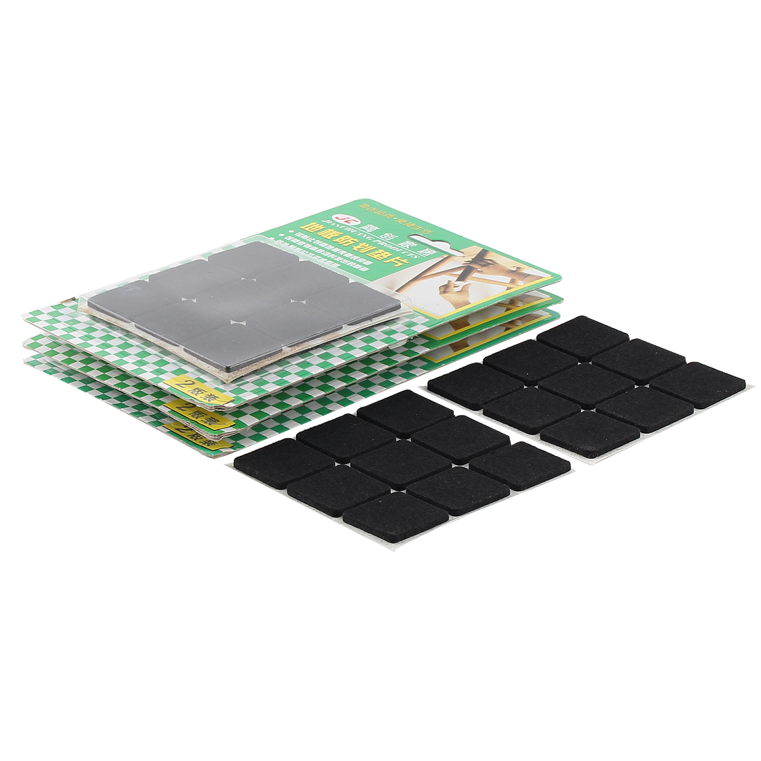 Table Chair Square Anti Scratch Furniture Felt Pads Cover Black 25 x 25mm 72pcs