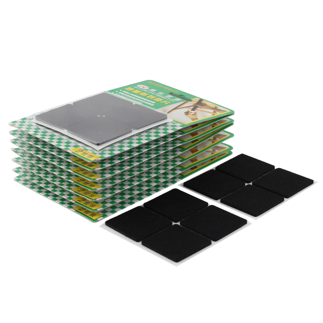 Table Chair Square Anti Slip Self Adhesive Furniture Felt Pads Cover Black 38 x 38mm 64pcs