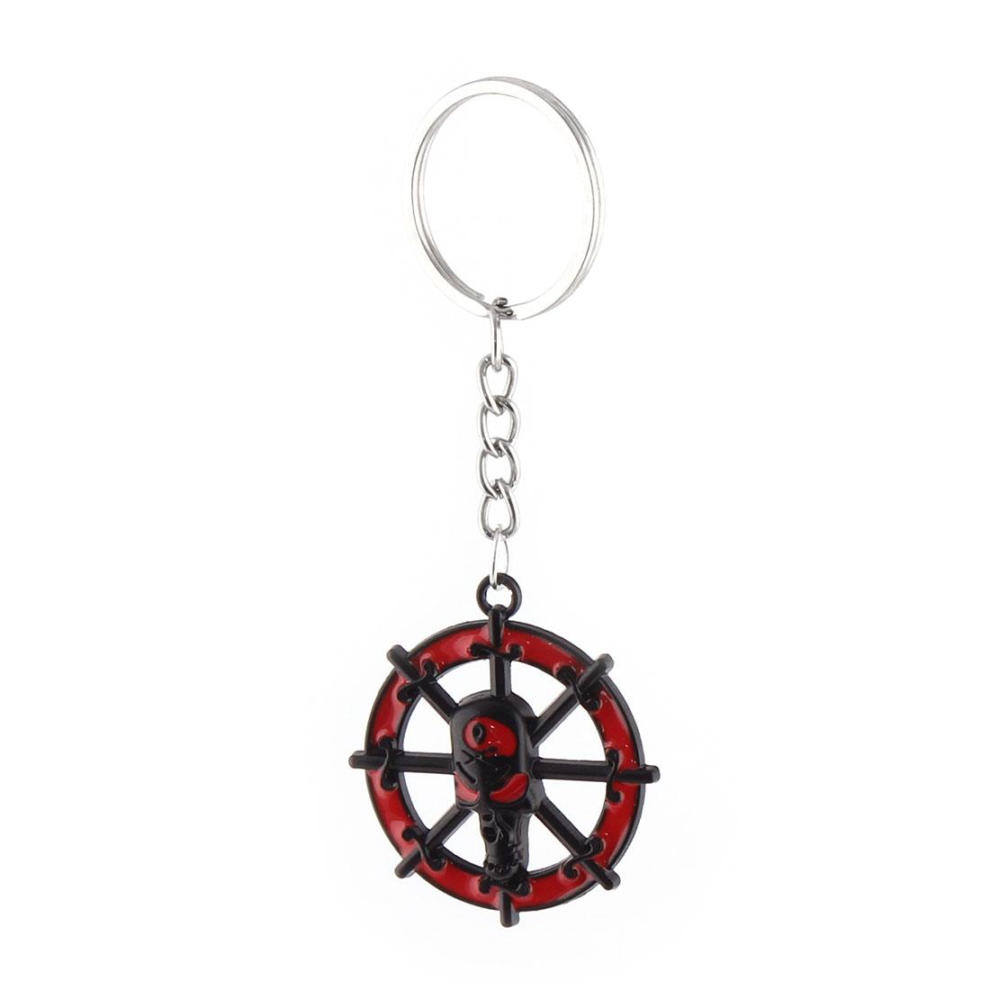 Ship Wheel Design Pendant Split Ring Key Chain Handbag Backpack Ornament