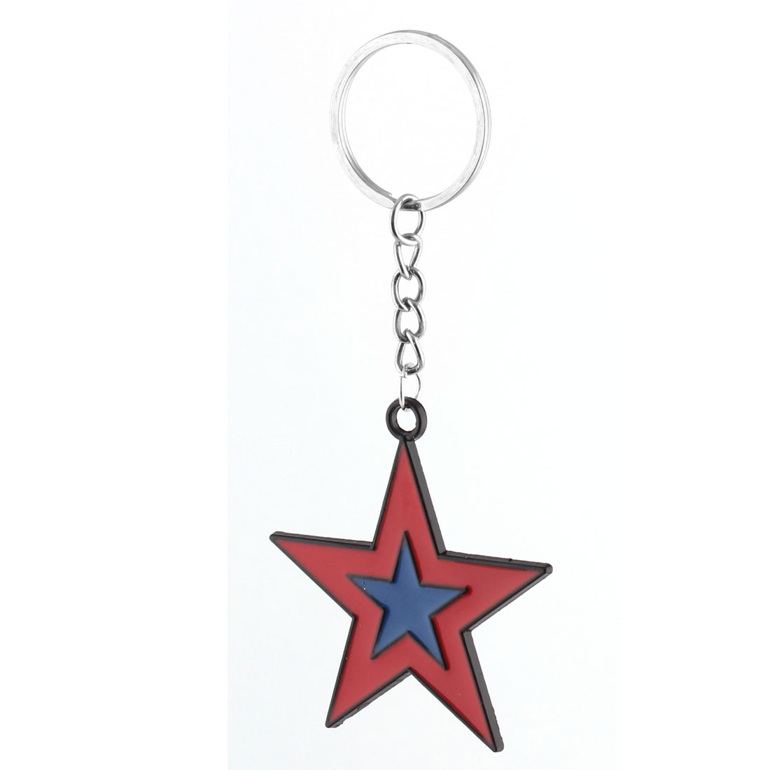 Star Design Pendant Split Ring Key Chain Keyring Handbag Pouch Decoration