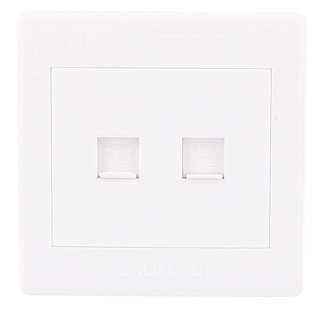 RJ11 Phone Connector Cable Outlet PC RJ45 8P8C Network Wall Socket Plate White