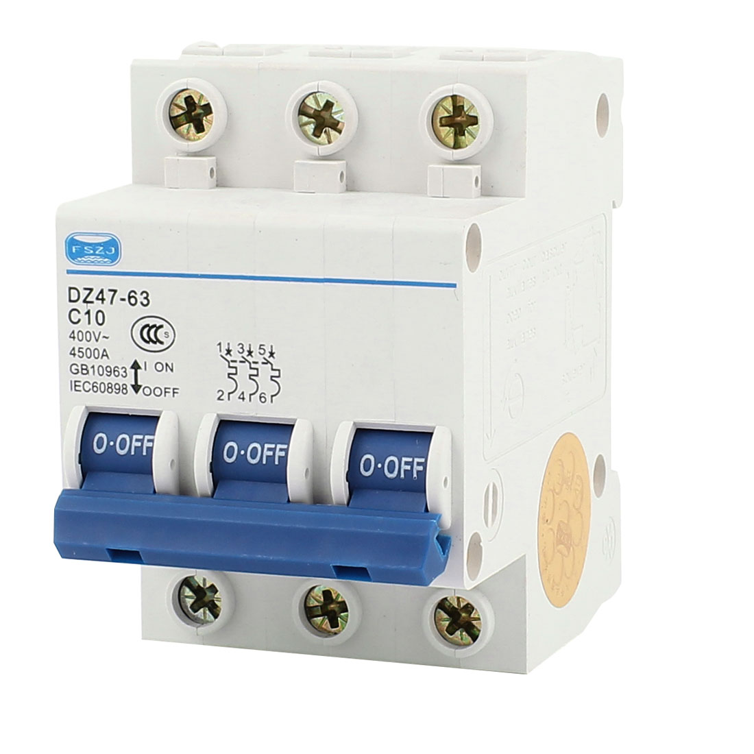 4500A Breaking Capacity 3 Pole 35mm DIN Rail Mounted Circuit Breaker AC 400V 10A DZ47-63 C10