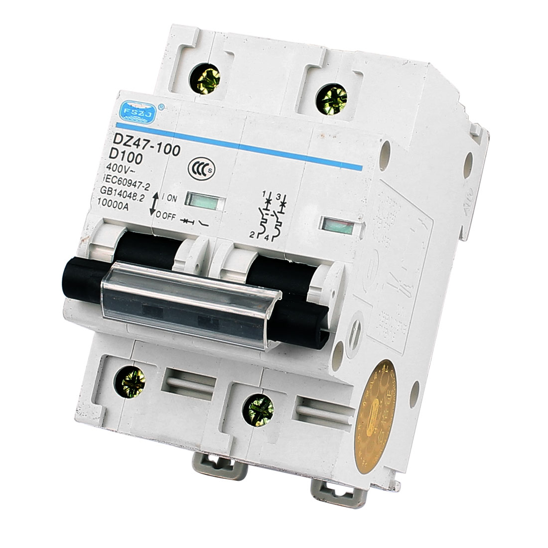 10000A Breaking Capacity 2 Pole 35mm DIN Rail Mounted Circuit Breaker AC 400V 10A DZ47-100 D100