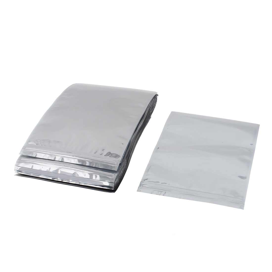 50 Pcs 150mm x 200mm Silver Tone Resealable Zip Lock Anti Static Bag