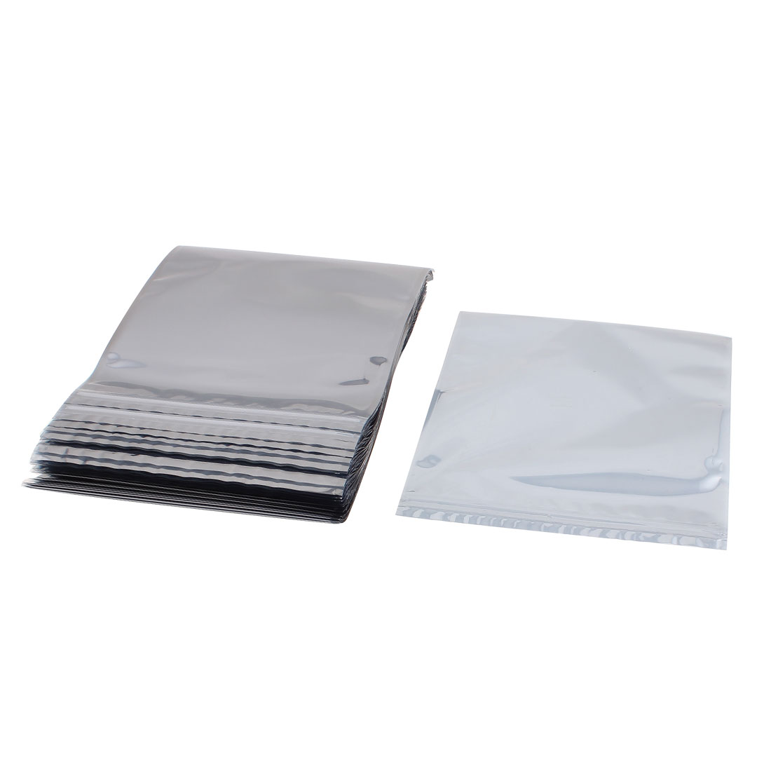100 Pcs 210mm x 240mm Silver Tone Resealable Zip Lock Anti Static Bag